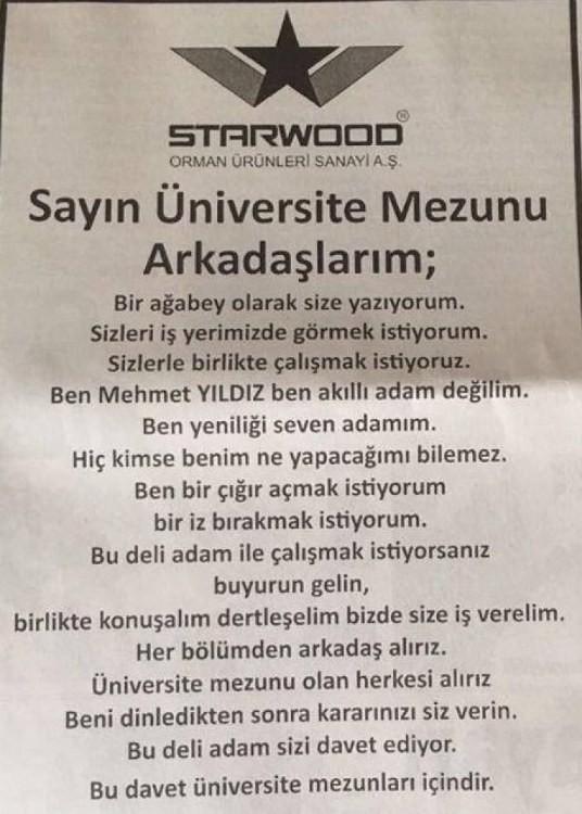 """Starwood'dan """"Büyük patron emekli oldu, yuvaya dönebilirsiniz"""" ilanı"""